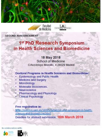 1st PhD Research Symposium in Health Sciences and Biomedicine poster